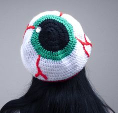 Creepy Eyeball Hat - Crochet Eye Slouchy Beanie - Spooky Halloween Headwear