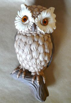 "Vintage Kitschy Bisque Ceramic Mold Owl 3D Wall Decor Plastic Eyes 11"" X 5"""