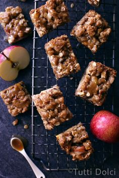 Caramel Apple Bars - layered oatmeal crumble and apple bars with salted caramel drizzle. No-mixer, an easy fall treat!