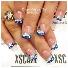 Dallas Cowboys nails – Care – Skin care , beauty ideas and skin care tips Dallas Cowboys Nail Designs, Dallas Cowboys Nails, Sports Nail Art, Football Nail Art, Cowboy Nails, Nail Art At Home, Blue Nail Designs, Girls Nails, Dipped Nails