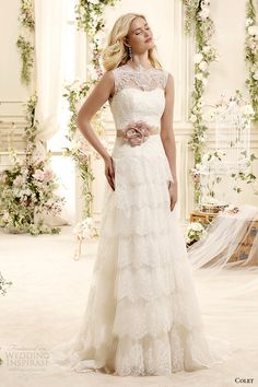 colet bridal 2015 style 25 coab15309ivpk sheer illusion neckline tiered a line wedding dress