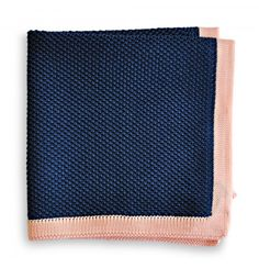 navy blue knitted pocket square with pink edging