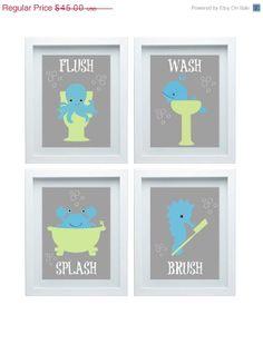 Bathroom Rules Art Kids Ocean Animal Bathroom Decor Set Of Kids Bathroom  Wall Art Choose Your Color Home Decor Christmas Gift