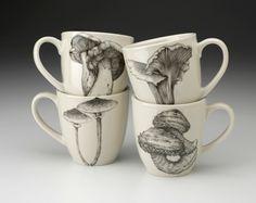 Laura Zindel Design - Set of 4 Mugs: Mushrooms, $168.00 (http://www.laurazindel.com/set-of-4-mugs-mushrooms/)