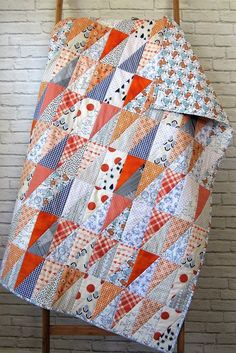 Half Rectangle Triangle Quilt - HRT Quilt - Auburn Baby Quilt - Lindy J Quilts Quilt Baby, Lap Quilts, Scrappy Quilts, Small Quilts, Quilt Blocks, Amish Quilts, Patchwork Quilting, Cotton Quilts, Beginner Quilt Patterns