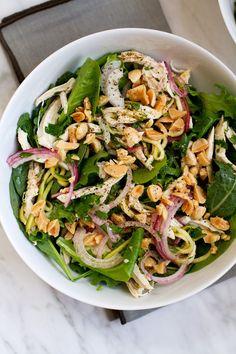 Marinated Zucchini Chicken Salad with Marcona Almonds    @saltandwind   http://saltandwind.com