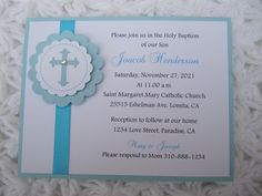Baptism, 1st Communion, Christening, Dedication, Handmade Invitation Religious  Choose your Color