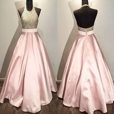 Senior High School Dance Party Pink Front Beaded Backless Haltered Long Prom Dress 2017