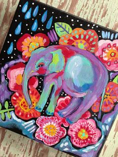 Bohemian Elephant Painting by evesjulia12 on Etsy