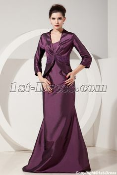 Grape 3/4 Long Sleeves Long Mother of Groom Gowns with Jacket:1st-dress.com