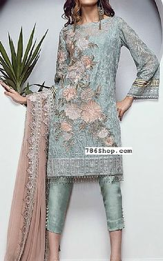 Light Sea Green Chiffon Suit | Buy Baroque Pakistani Dresses and Clothing online in USA, UK