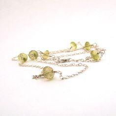 Lemon yellow gemstone station necklace lemon by FelisaJewelry