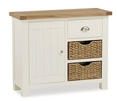 Roseland Daymer Cream Painted Oiled Oak Small Sideboard features single cupboard, two handwoven baskets and a spacious drawer. Sideboard Table, Small Sideboard, Sideboard Ideas, Kitchen Cabinets Units, Tv Cabinets, Kitchen Dresser, White Tv Unit, Country Cottage Bedroom, White Cupboards