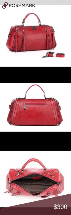 """Rosalyn Red Leather Tote Materials: cowhide embossed with crocodile  Measurements:15""""(38cm) L,4.75""""(12cm) W,7.85""""(20cm) H,  4""""(10cm) drop leather handle 2 front zippered pocket  Back zippered pocket  Wall zippered pocket and 2 pouches inside  Closure: top zippered  Hardware Color: gun color Bags Crossbody Bags"""