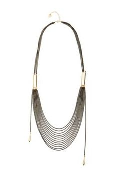 Black and Gold-Tone Long Layered Necklace | GUESS.com