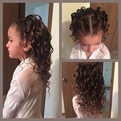 Half French braid with curls