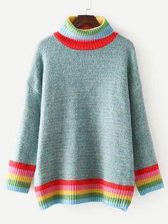Striped Trim Turtleneck Oversized SweaterFor Women-romwe