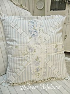 Beansprout BELLA Decorative Pillow Butterfly Yellow White Lace Shabby Chic Decor