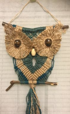 OWL #61 Macrame Wall Hanging, natural colored jute,