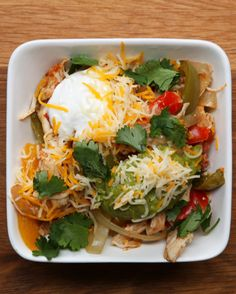 Slow Cooker Chicken Fajita Bowls Recipe by Tasty Fajita Bowl Recipe, Chicken Fajita Bowl, Fajita Bowls, Chicken Fajitas, Mie Noodles, Mexican Food Recipes, Dinner Recipes, Mexican Dishes, Dinner Ideas