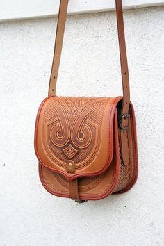 awesome tooled light brown leather bag - shoulder bag - crossbody bag - handbag - ethnic bag - messenger bag - for women - owl