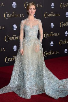 Lilly James (Cinderella) at the 2015 Cinderella premiere in Hollywood, CA, wearing an Elie Saab gown.