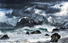 Name: Storm in Lofoten islands (Norway); Size: 4869 x Category: Elements locality. Uhd Wallpaper, Nature Wallpaper, Wallpaper Backgrounds, Wallpapers, Land Of Midnight Sun, Lofoten Islands Norway, Nature Landscape, Rivage, Sea Waves
