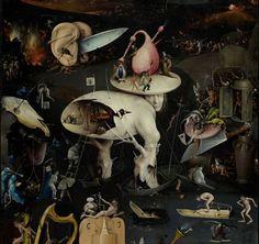 Detail from The Garden of Earthly Delights by Hieronymus Bosch Dark Art Illustrations, Art Et Illustration, Prado, Art Du Collage, Medieval Paintings, Paintings Famous, Garden Of Earthly Delights, Hieronymus Bosch, Art For Art Sake