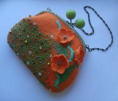 Felted handbag  Orange-Pumpkin-hand felted от YuliasFeltworld