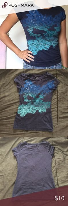 Blue Lace and Rhinestone Short Sleeve Tee Originally bought from Express. Did not wear often. Super comfortable and light! Lace is printed on and rhinestones are attached. XS but can also fit like a S. No rips, holes, or stains! Express Tops Tees - Short Sleeve