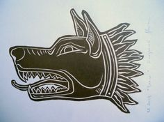 Linocut, head of Draco - the ancient war standard of the Dacians Head Tattoos, Body Art Tattoos, Small Tattoos, Dragon Boat, Clay Design, Game Concept, Symbolic Tattoos, Woodcarving, Draco