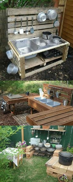 DIY Three Different Styles of Rustic and Primitive Outdoor Kitchens using pallet or scrap wood! All the basics you would need in a kitchen! Great ideal for a remote area or even a temporary kitchen while remodeling! Diy Mud Kitchen, Diy Outdoor Kitchen, Rustic Outdoor, Rustic Wood, Outdoor Kitchens, Outdoor Decor, Backyard For Kids, Backyard Games, Primitive Kitchen