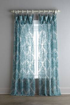 "Dian Austin Couture Home ""Vintage"" Sheer Curtains. Consistency in color with the chandelier, area rug and window coverings. Three levels for eye harmony. Pull them back and let the light in. Drapery Styles, Curtain Styles, Curtain Designs, Blue Floral Curtains, Turquoise Curtains, Curtains And Draperies, Printed Curtains, Velvet Curtains, House Blinds"