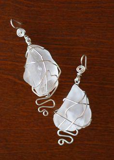 clear mermaid tears (sea glass) Mermaid Tears, Sea Glass, Jewerly, Jewelry Design, Jewelry Making, Drop Earrings, Jewlery, Schmuck, Jewelry