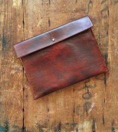 Straight Edge Leather Clutch Bag