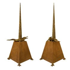 Pair Of Bronze Obelisks By Horacio Cordero and Juan Pablo Molyneux | From a unique collection of antique and modern sculptures at http://www.1stdibs.com/furniture/more-furniture-collectibles/sculptures/