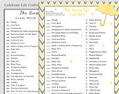 Yellow Baby Shower Sweet Life Candy Bar Match Game - Printable Baby Shower Games - Yellow Gray Chevron - Baby Sprinkle Boy Girl N024-Y