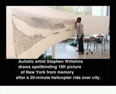Autistic artist Stephen Wiltshire draws spellbinding 18ft picture of New York from memory after a 20 minute helicopter ride over city