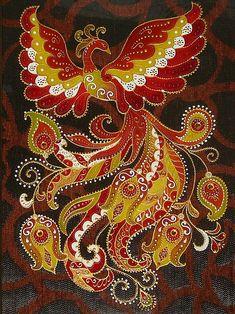 "Photo from album ""Жар птица"" on Yandex. Peacock Painting, Peacock Art, Dot Art Painting, Mandala Painting, Watercolor Art Paintings, Força Interior, Russian Folk Art, Fractal Art, Painted Rocks"