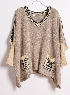 Vintage Bat Sleeve Beige Sweater