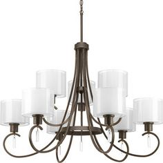 Progress Lighting Invite 35.625-In 9-Light Antique Bronze Tiered Chand