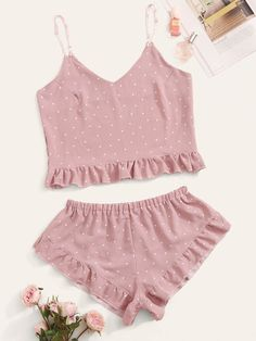 To find out about the Polka Dot Ruffle Hem Cami PJ Set at SHEIN, part of our latest Pajama Sets ready to shop online today! Cute Sleepwear, Sleepwear Women, Pajamas Women, Lingerie Sleepwear, Nightwear, Pajama Outfits, Lazy Outfits, Cute Outfits, Fashion Outfits