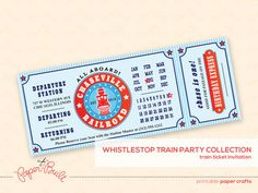 Printable Train Birthday Party Train Ticket Invitation (Customized) from the Whistlestop Party Collection by Paper Built