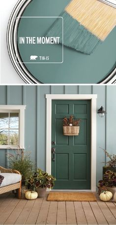This stylish front porch uses the BEHR 2018 Color of the Year, In The Moment, to create a monochromatic color palette that we can't get enough of. White pumpkins, outdoor planters, and rustic front door decorations complete the look of this space by addin Front Door Colors, Front Door Decor, Wall Colors, Painted Front Doors, Color Palette For Home, Paint Colors For Home, Rustic Paint Colors, Behr Paint Colors, Green Paint Colors