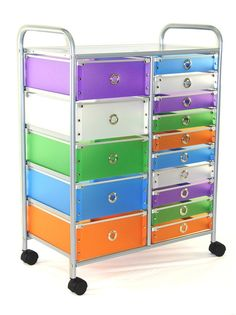 Rolling Storage Tower w 15 Multi-Colored Drawers
