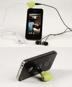 Iphone stand and earphone splitter in one