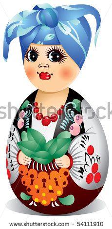 Ukraine Matryoshka doll in Ukrainian folk dress, Girl, National costume, traditional clothing, regional costume, national dress - stock vector