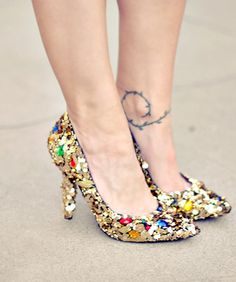 Big sequin sparkly heels