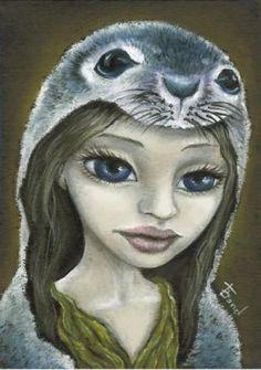 Selkie  Irish fairy  seal woman  ondine  5x7 PRINT of by tanyabond, $12.00