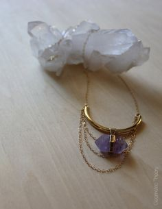 Gold Banded Amethyst Nugget Necklace by GeometricTheory on Etsy